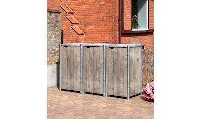 HIDE Mülltonnenbox für 3 x 120 l, grau/natur kaufen