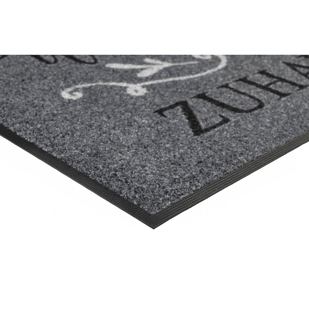 wash+dry by Kleen-Tex Fußmatte »Willkommen Zuhause«, rechteckig, 7 mm Höhe, Fussabstreifer, Fussabtreter, Schmutzfangläufer, Schmutzfangmatte, Schmutzfangteppich, Schmutzmatte, Türmatte, Türvorleger, mit Spruch, In- und Outdoor geeignet, waschbar