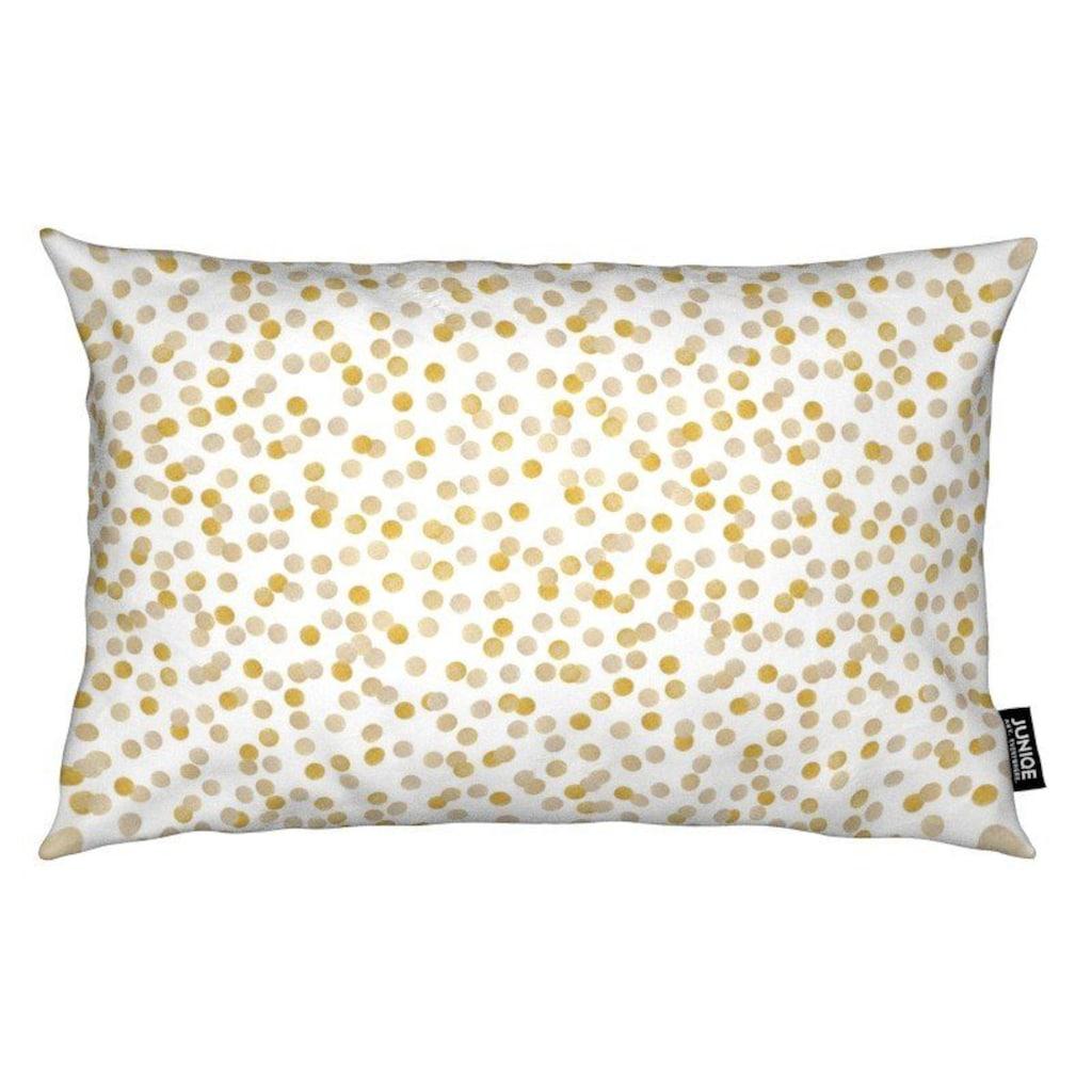 Juniqe Dekokissen »Gold Confetti«, Weiches, allergikerfreundliches Material