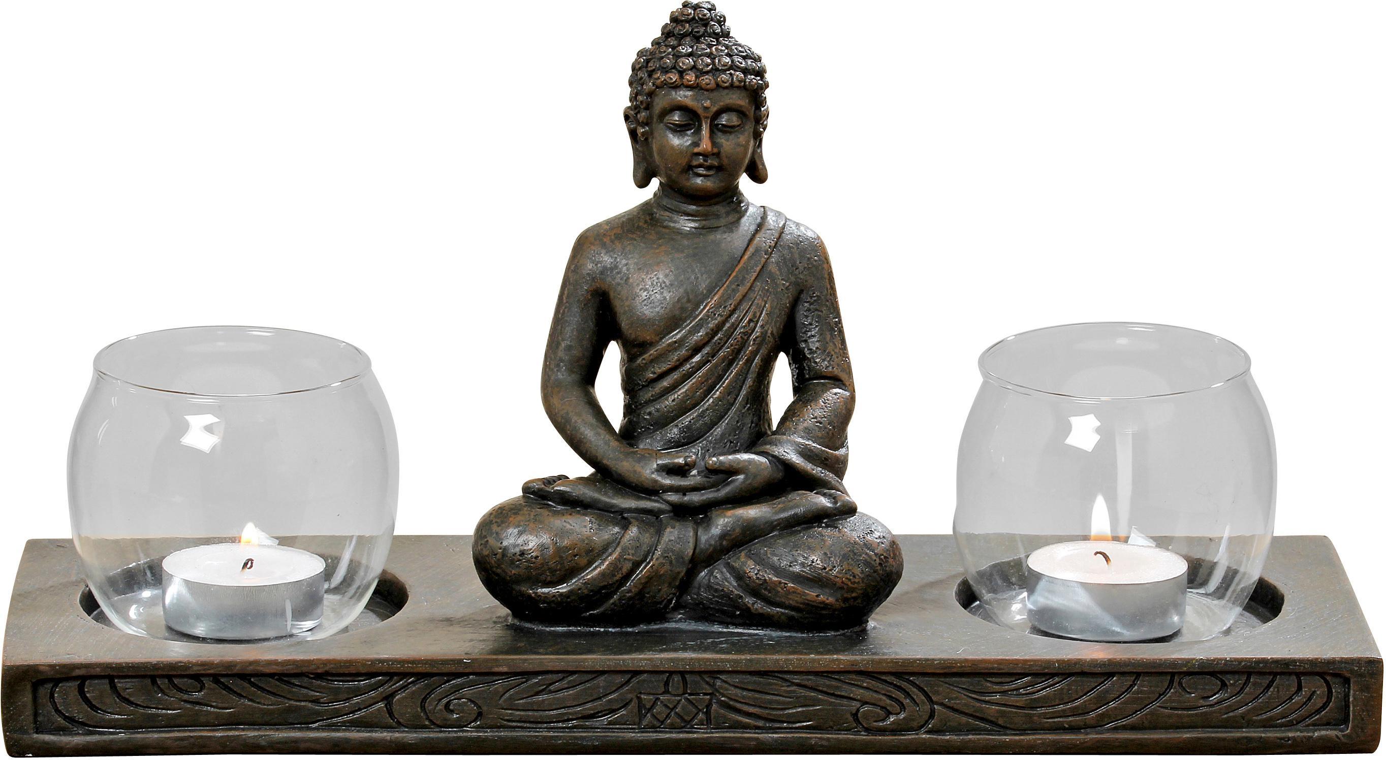 BOLTZE Windlicht Buddha braun Kerzenhalter Kerzen Laternen Wohnaccessoires