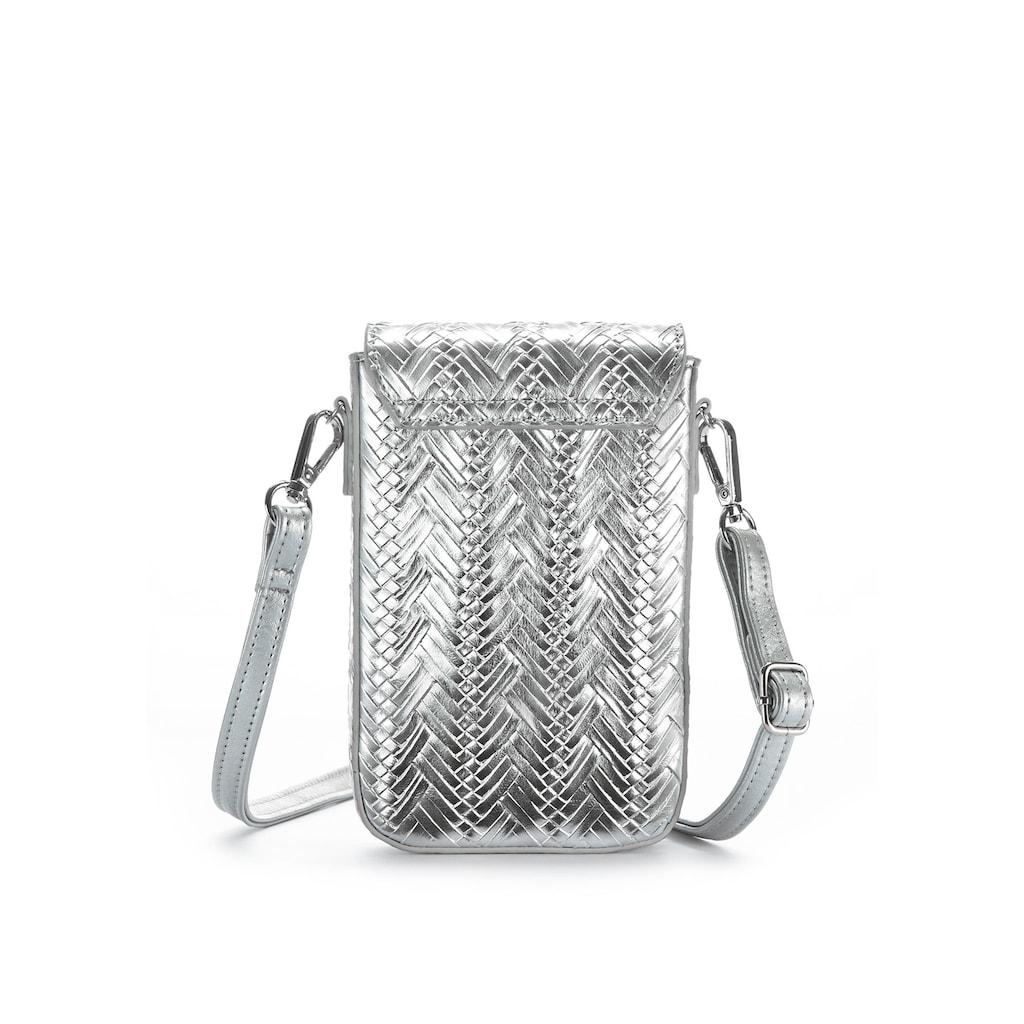 LASCANA Umhängetasche,Handytasche' im Metalliclook und mit modischer Tassel