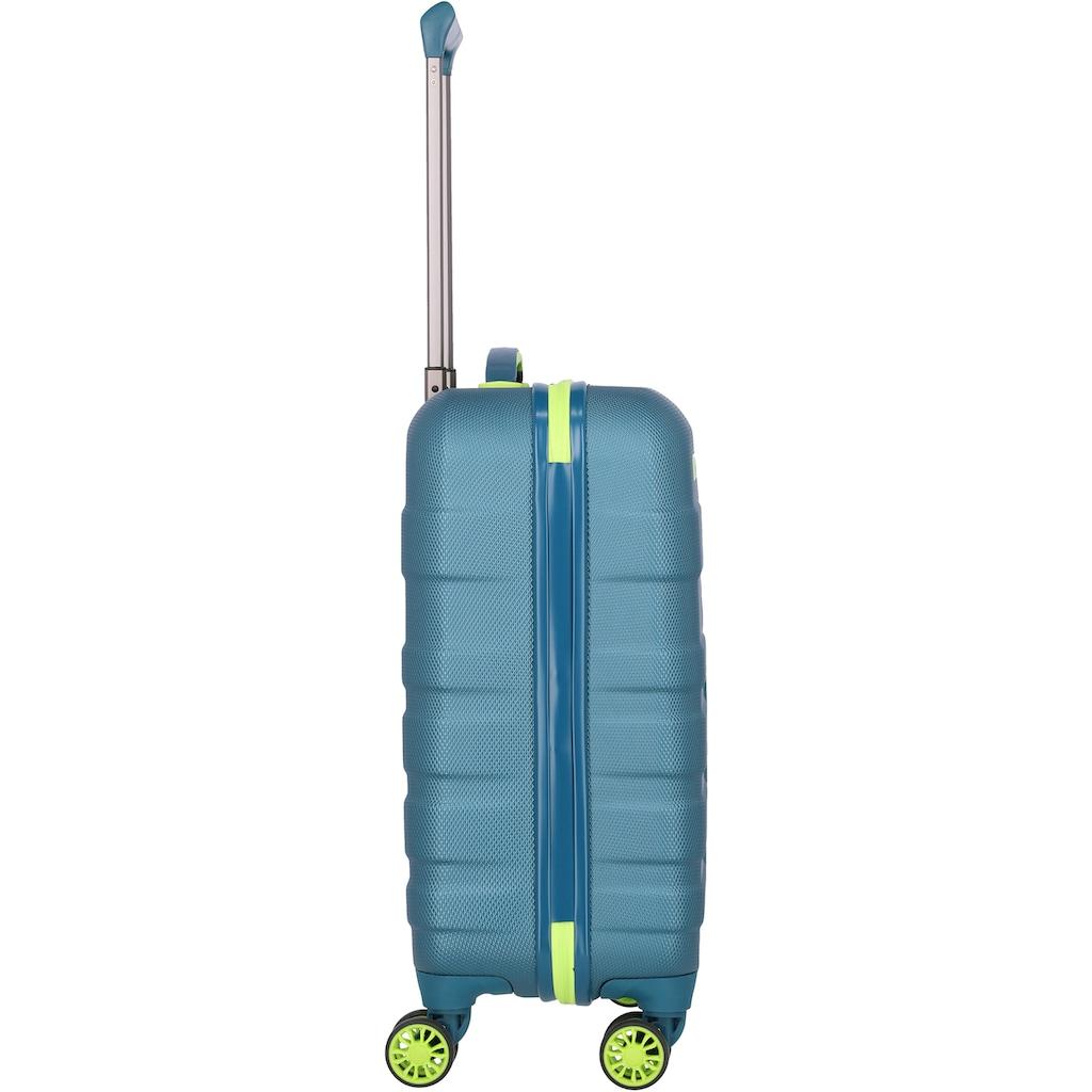 travelite Hartschalen-Trolley »Vector, 55 cm, Petrol/Limone«, 4 Rollen
