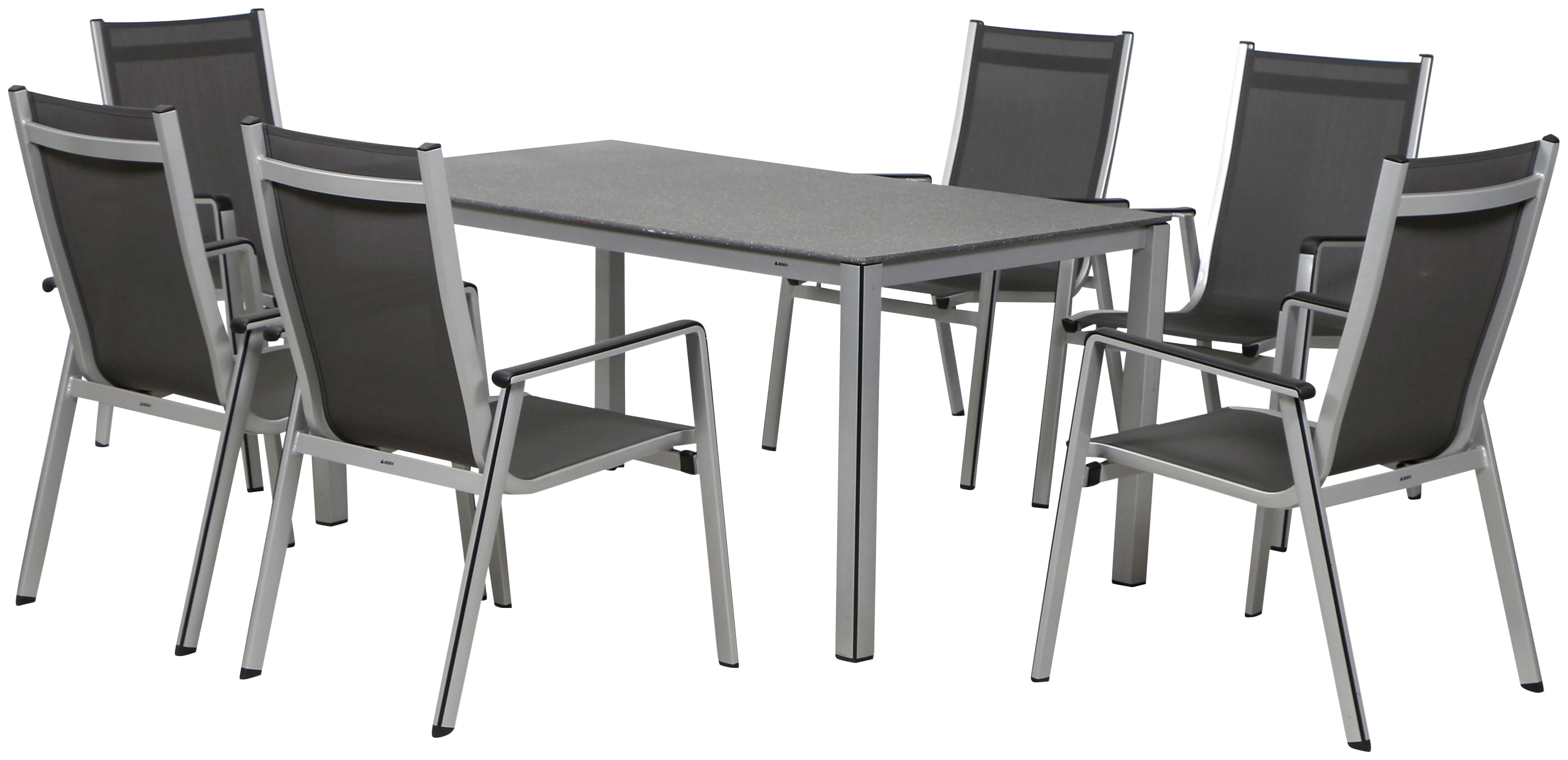 MWH Gartenmöbelset Elements 7tlg 6 Sessel Tisch 160x90 cm Aluminium