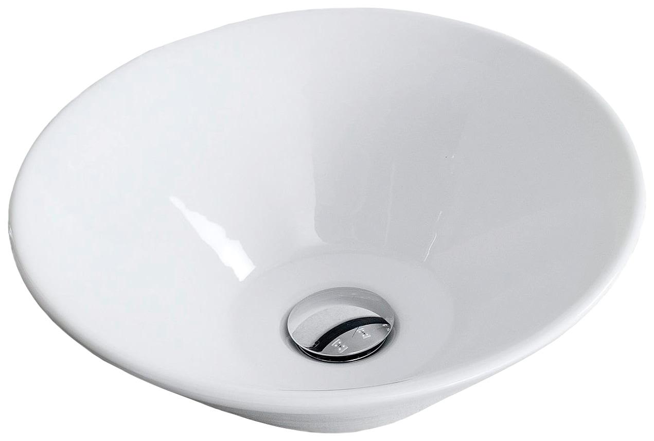 FACKELMANN Aufsatzwaschbecken, rund, Ø 42 cm weiß Waschbecken Bad Sanitär Aufsatzwaschbecken