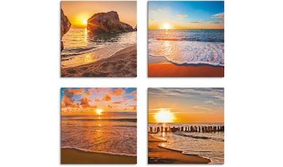 Artland Leinwandbild »Sonnenuntergänge am Strand & Meer«, Sonnenaufgang & -untergang, (4 St.) kaufen