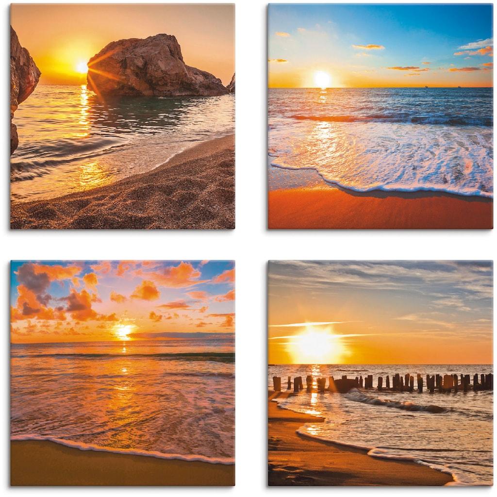 Artland Leinwandbild »Sonnenuntergänge am Strand & Meer«, Sonnenaufgang & -untergang, (4 St.)