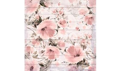QUEENCE Holzbild »Verwaschene Rosa Blumen«, 40x40 cm Echtholz kaufen