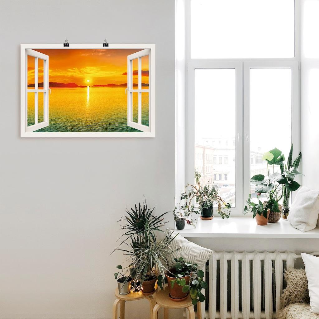 Artland Wandbild »Fensterblick - Sonnenuntergangspanorama«, Fensterblick, (1 St.), in vielen Größen & Produktarten -Leinwandbild, Poster, Wandaufkleber / Wandtattoo auch für Badezimmer geeignet