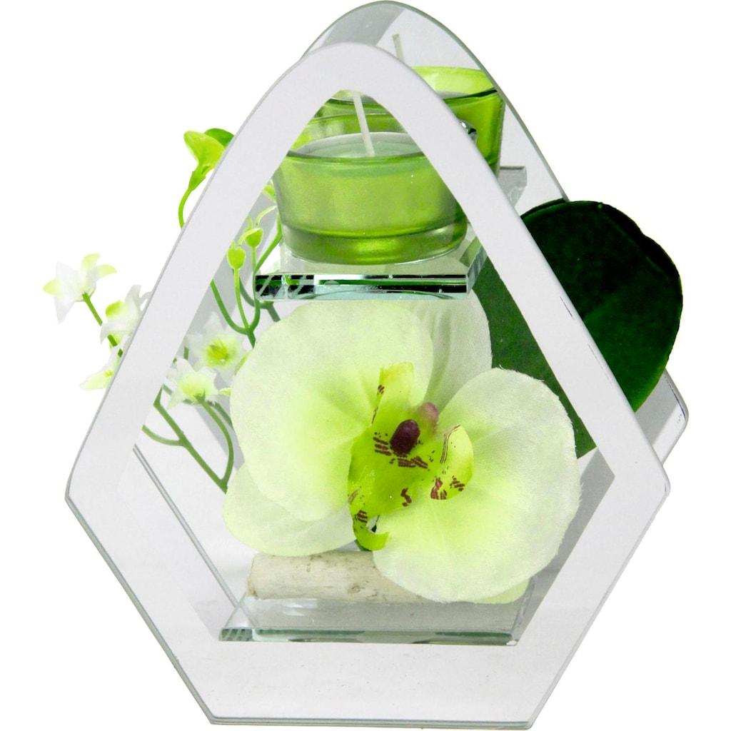 I.GE.A. Kunstpflanze »Orchidee im Glas mit Teelicht«