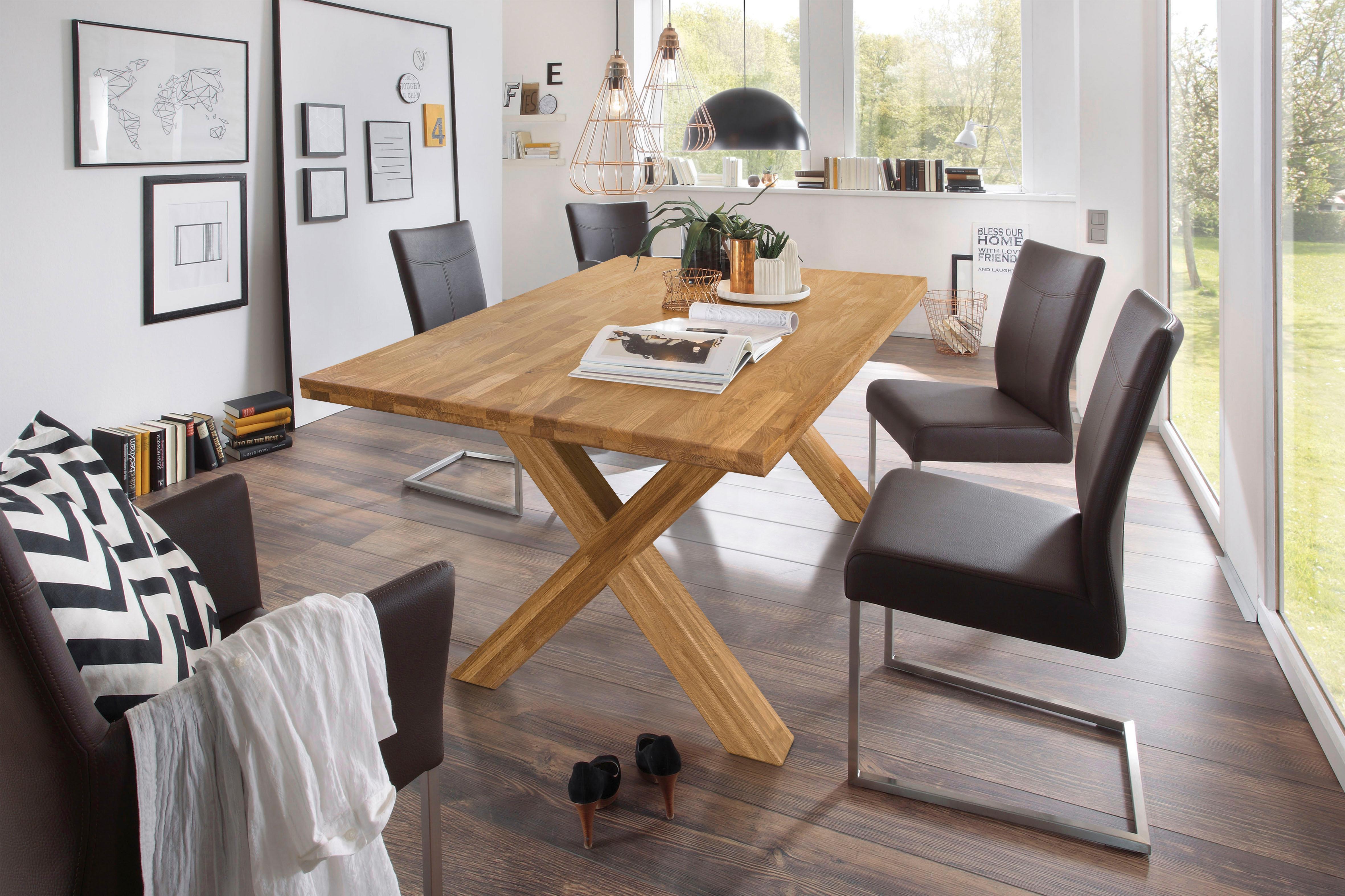 home affaire esstisch kirais aus massivem eichenholz mit modernen beingestell in x form breite 200 cm