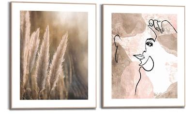 Reinders! Wandbild »Natürliche Linien Stiftzeichnung - Abstrakt - Frau - Pampas«, (2 St.) kaufen
