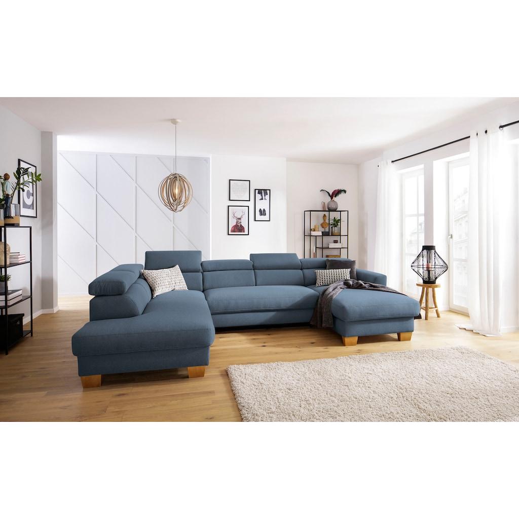 Home affaire Wohnlandschaft »Steve Premium Luxus«, bis 140kg pro Sitz belastbar, incl. Kopfteilverstellung, wahlweise mit Bettfunktion und Bettkasten