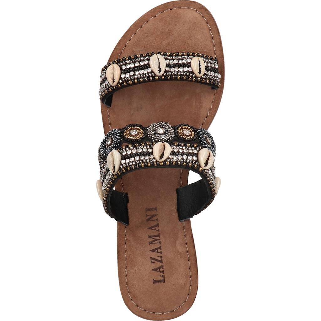 Lazamani Pantolette »Lederimitat/Textil«