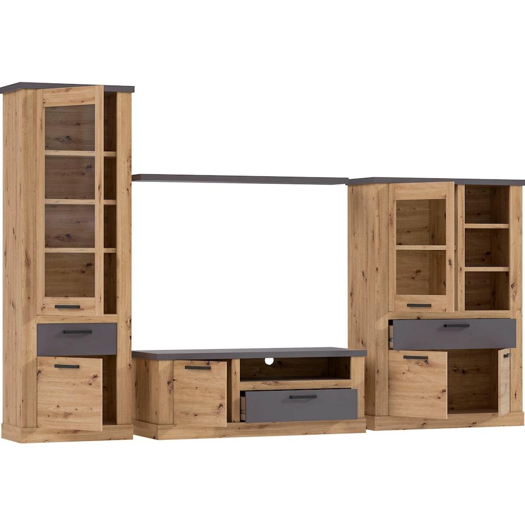 FORTE Wohnwand, (Set, 4 St.), Front/ Blenden aus Teil MDF Holz