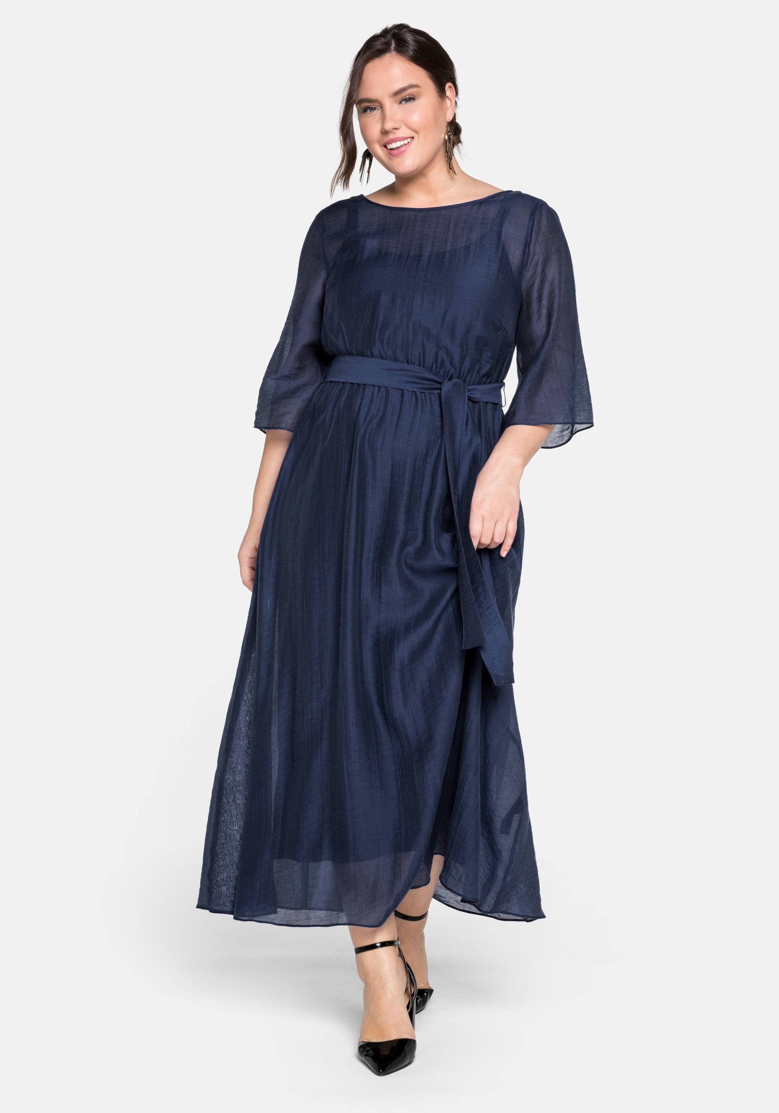 Sheego Abendkleid, lang in sehr weiter Form mit Bindeband blau Damen Abendkleider Kleider Abendkleid