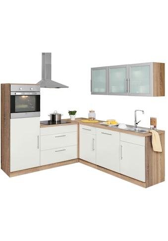 wiho Küchen Winkelküche »Aachen«, mit E-Geräten, Stellbreite 210 x 220 cm kaufen