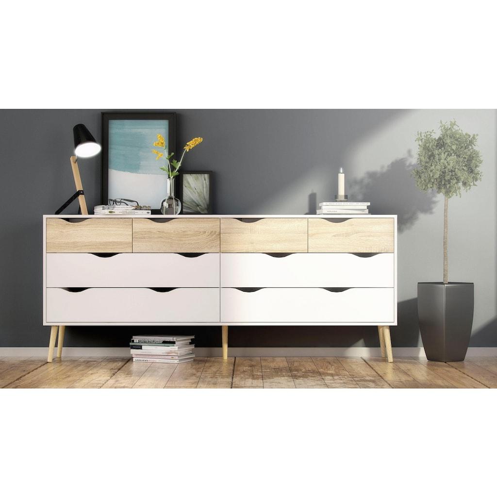 Home affaire Kommode »Oslo«, mit vielen Stauraummöglichkeiten, grifflos, zweifarbige Front, Breite 195,7 cm