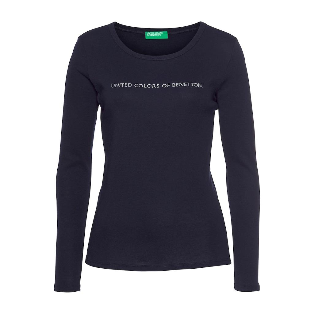United Colors of Benetton Langarmshirt, mit silber- oder goldfarbenem Glitzer-Labelprint