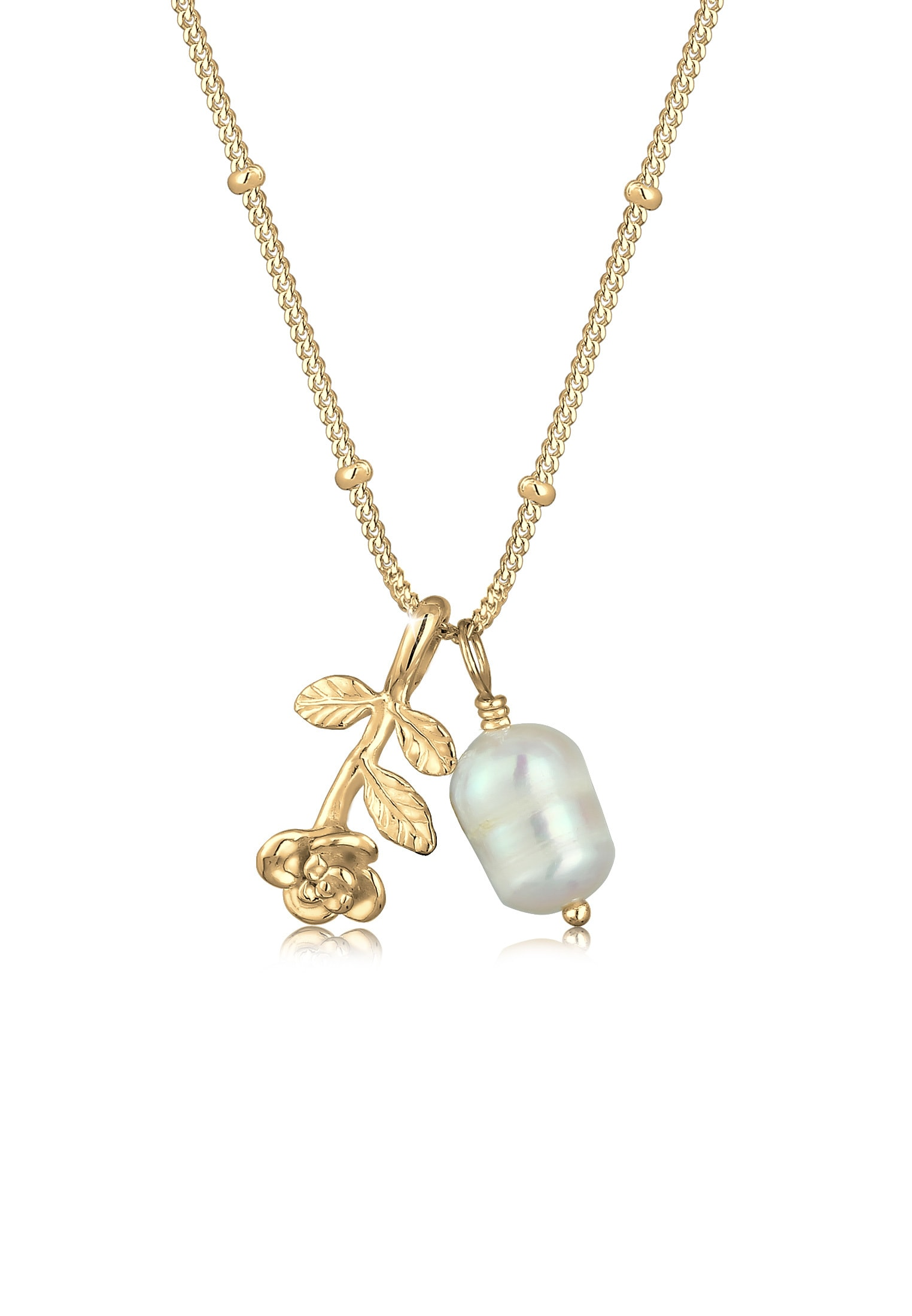 Elli Perlenkette Kugelkette 3D-Rose Barockperle Vintage 925 Silber | Schmuck > Halsketten > Perlenketten | Elli