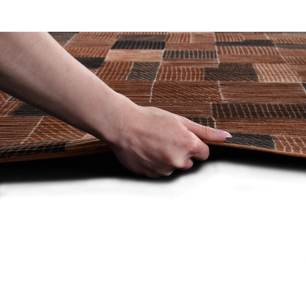 DIE HAUSKUNST Teppich »Niyoncondon«, rechteckig, 4 mm Höhe, Flachgewebe, handgewebt, mit Fransen, Wohnzimmer