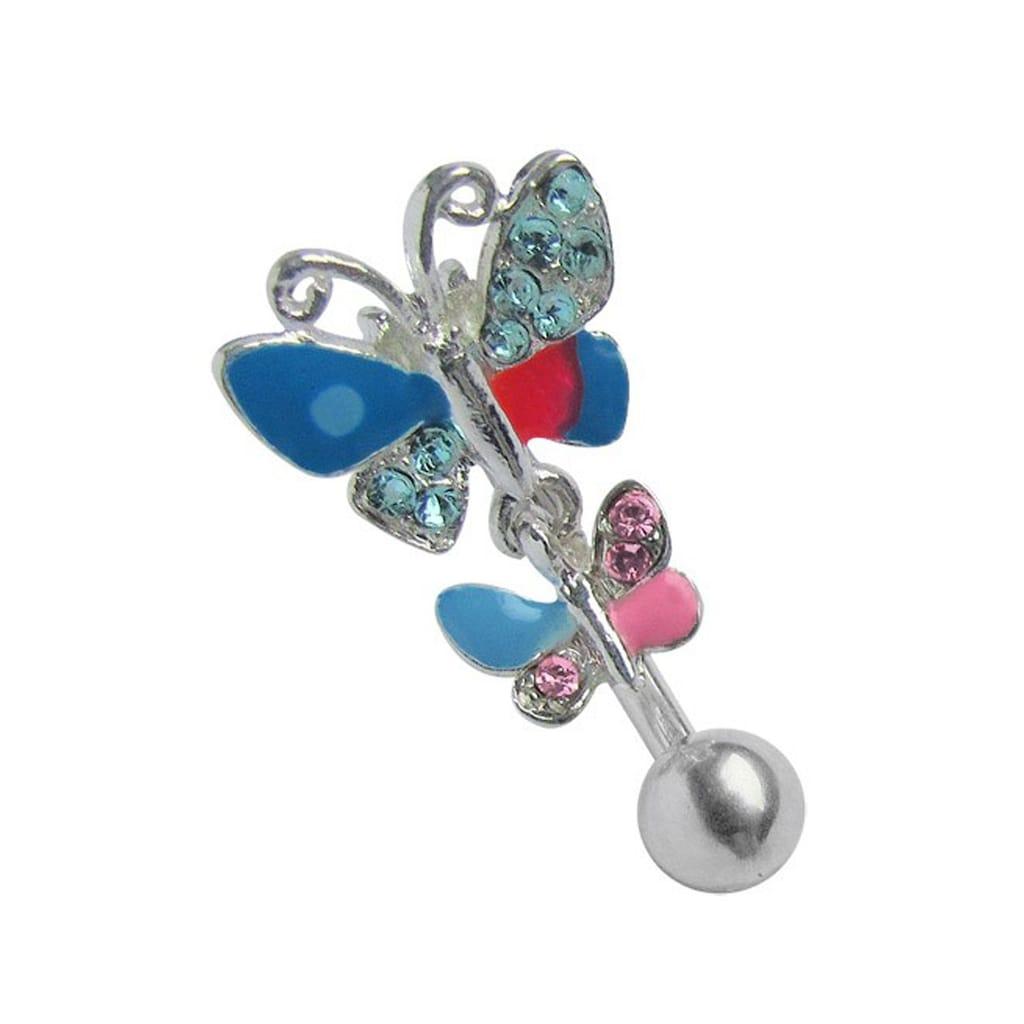 Adelia´s Bauchnabelpiercing »Bauchnabelpiercing«, 316l Stahl Piercing Stecker doppel Schmetterling bunt