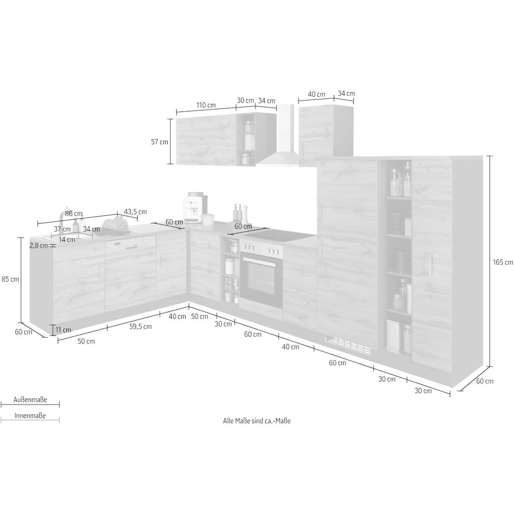 HELD MÖBEL Winkelküche »Colmar«, ohne E-Geräte, Stellbreite 210/360 cm
