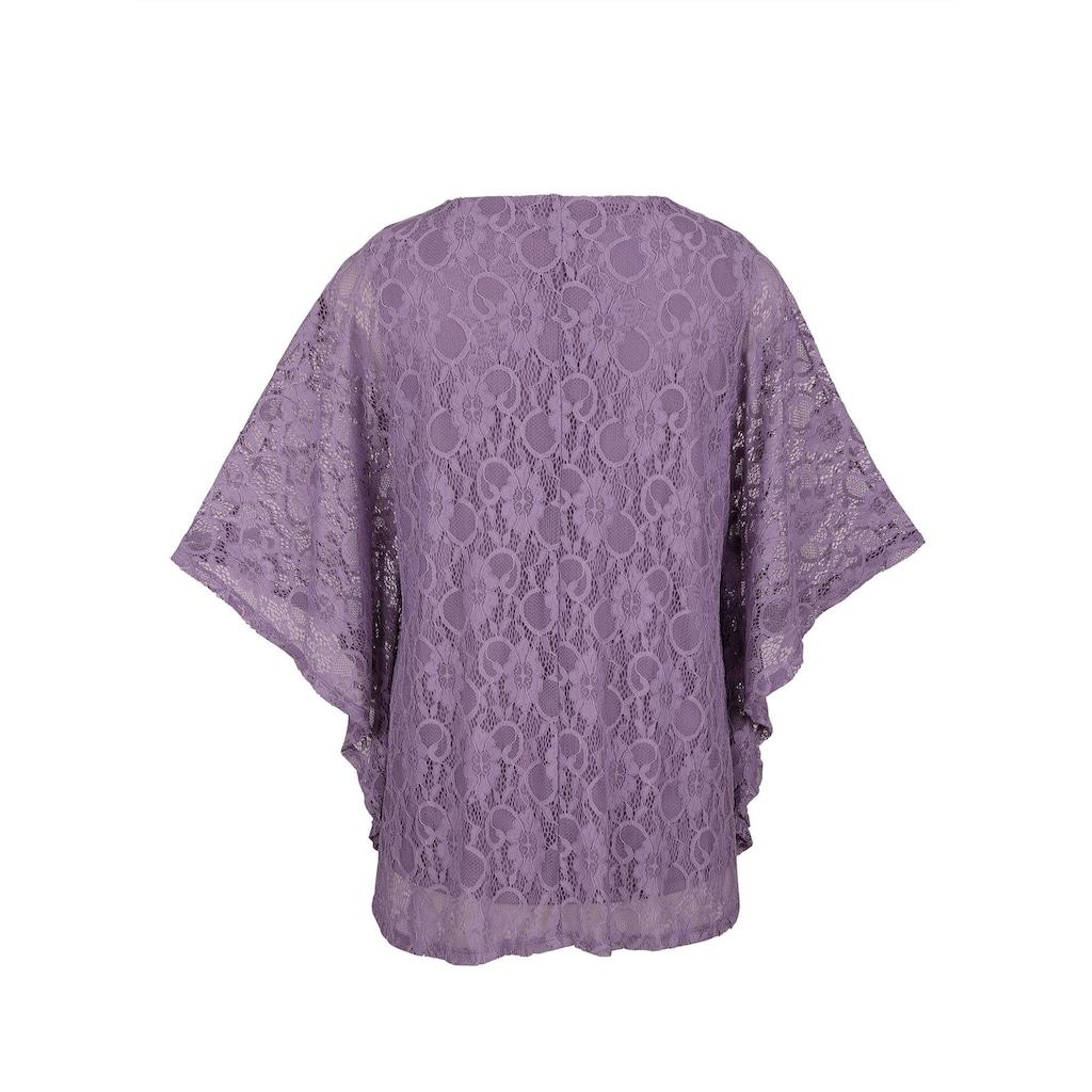 MIAMODA Spitzenshirt mit passendem Top unterfüttert