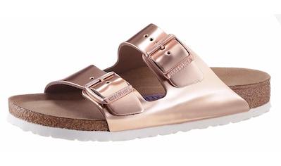 Birkenstock Pantolette »ARIZONA SFB«, in schmaler Schuhweite, Metallic-Optik, mit Soft-Fußbett kaufen