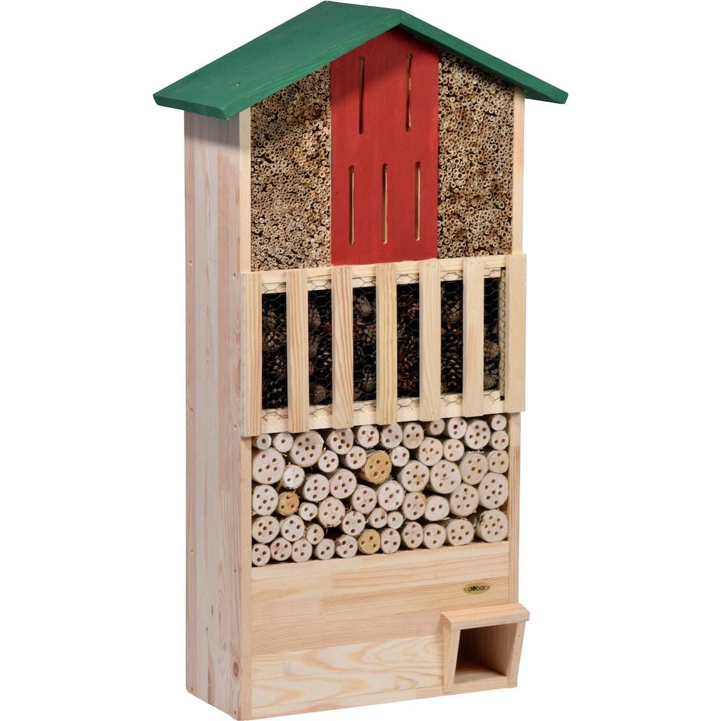 dobar green label Insektenhotel »XXL«, mit integriertem Igelhaus und Schmetterlingskasten, BxTxH: 58x30x110 cm