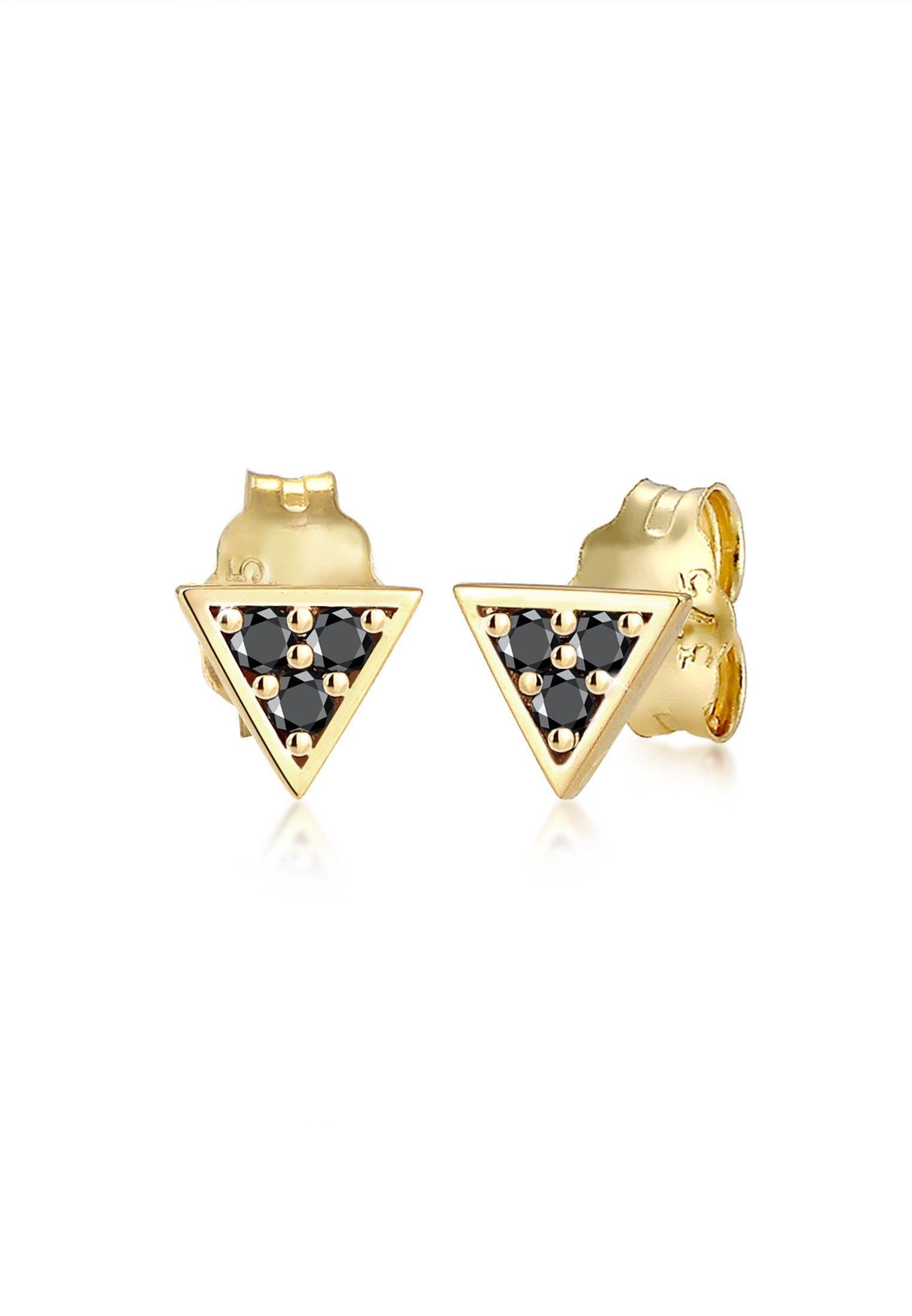 Elli Paar Ohrstecker Dreieck Geo Black Diamant (012 ct) 375er Gelbgold | Schmuck > Ohrschmuck & Ohrringe | Elli