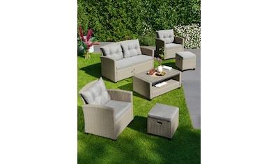 KONIFERA Loungeset »Lorca«, 16 - tlg., 2er Sofa, 2 Sessel, 2 Hocker, Tisch, Polyrattan kaufen