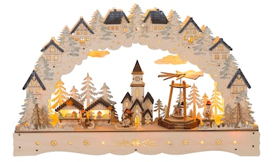 HGD Holz - Glas - Design LED - Lichterbogen Weihnachtsmarkt mit beweglicher Pyramide kaufen