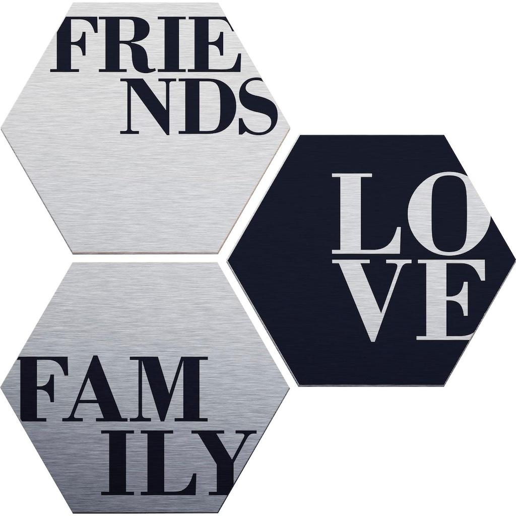 Wall-Art Alu-Dibond-Druck »Love, Friends, Family«, (Set)