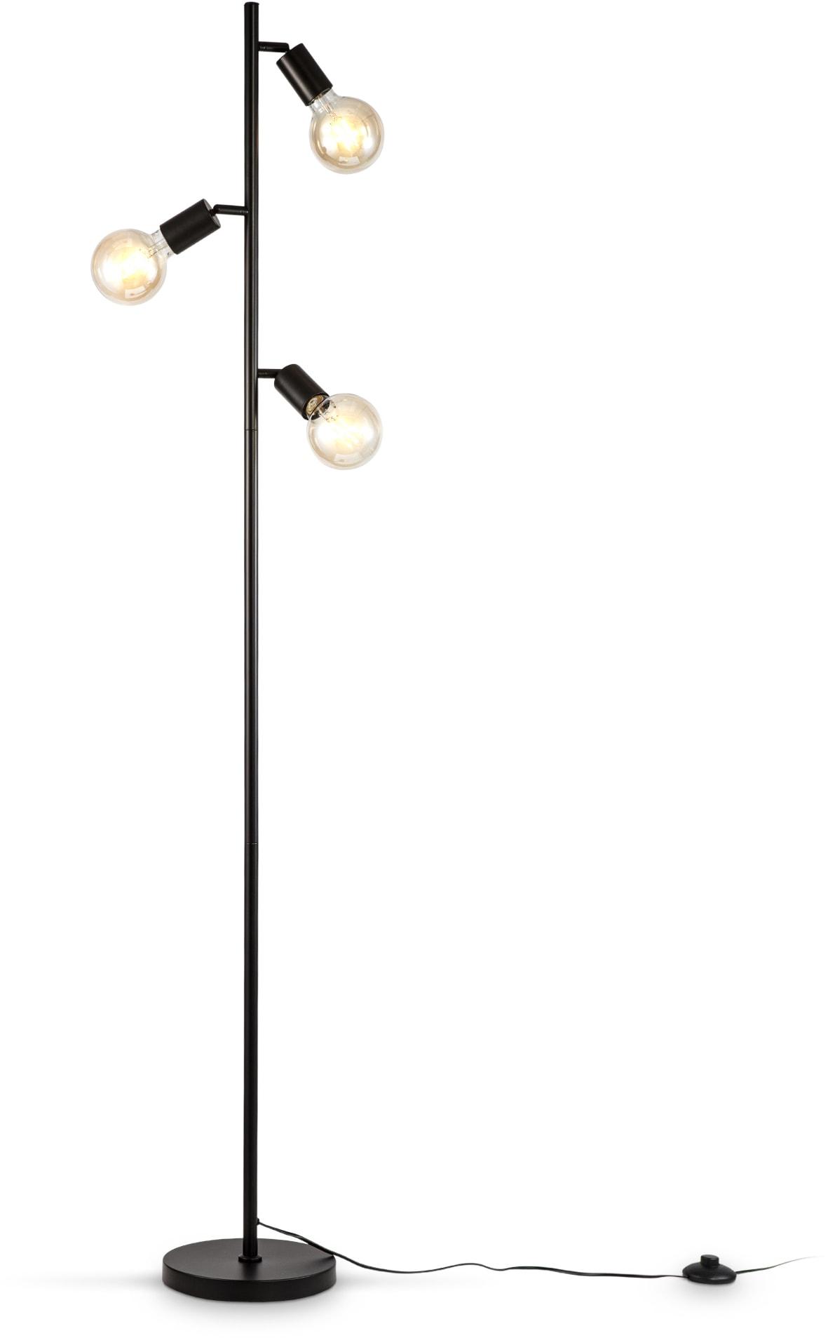 B.K.Licht Stehlampe, E27, 1 St., Stehleuchte 3-flammig, E27, Schwenkbar, Retro, Fußschalter, Metall, ohne Leuchtmittel