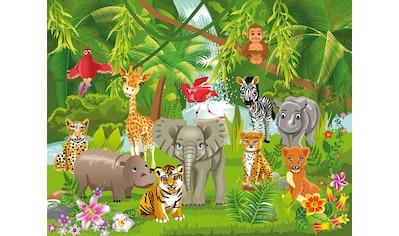 Papermoon Fototapete »Kids Jungle Animals«, matt, Vlies, 5 Bahnen, 250 x 180 cm kaufen