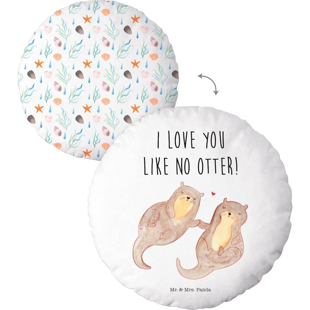 """Dekokissen »Mr.&Mrs. Panda """"I love you like no Otter""""«, mit niedlichem Motiv und Schriftzug"""