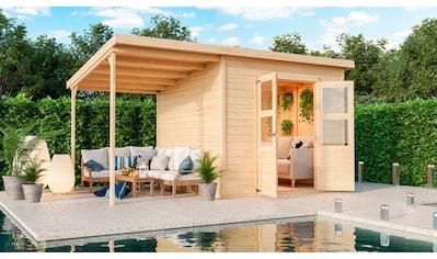 KARIBU Set: Gartenhaus »Merseburg 6«, BxT: 415x265 cm, mit Anbaudach kaufen