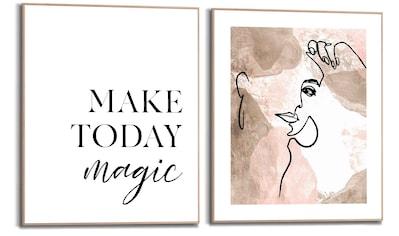 Reinders! Wandbild »Magische Linien Frau - Abstrakt - Zitat - Positivität«, (2 St.) kaufen