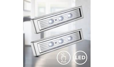 B.K.Licht LED Schrankinnenraumbeleuchtung, LED-Board, Kaltweiß, LED Schranklicht Unterbauleuchte Push ON/OFF batteriebetrieben selbstklebend 2er SET kaufen