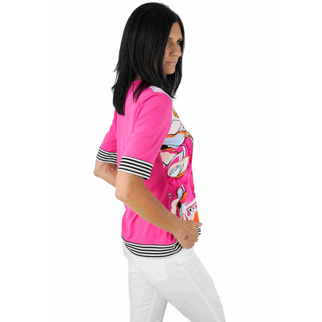 Seidel Moden Print-Shirt, bedrucktes Vorderteil, unifarbener Rücken, Made in Germany