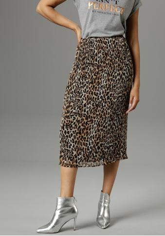 Aniston SELECTED Plisseerock, im trendy Animal-Print - NEUE KOLLEKTION kaufen