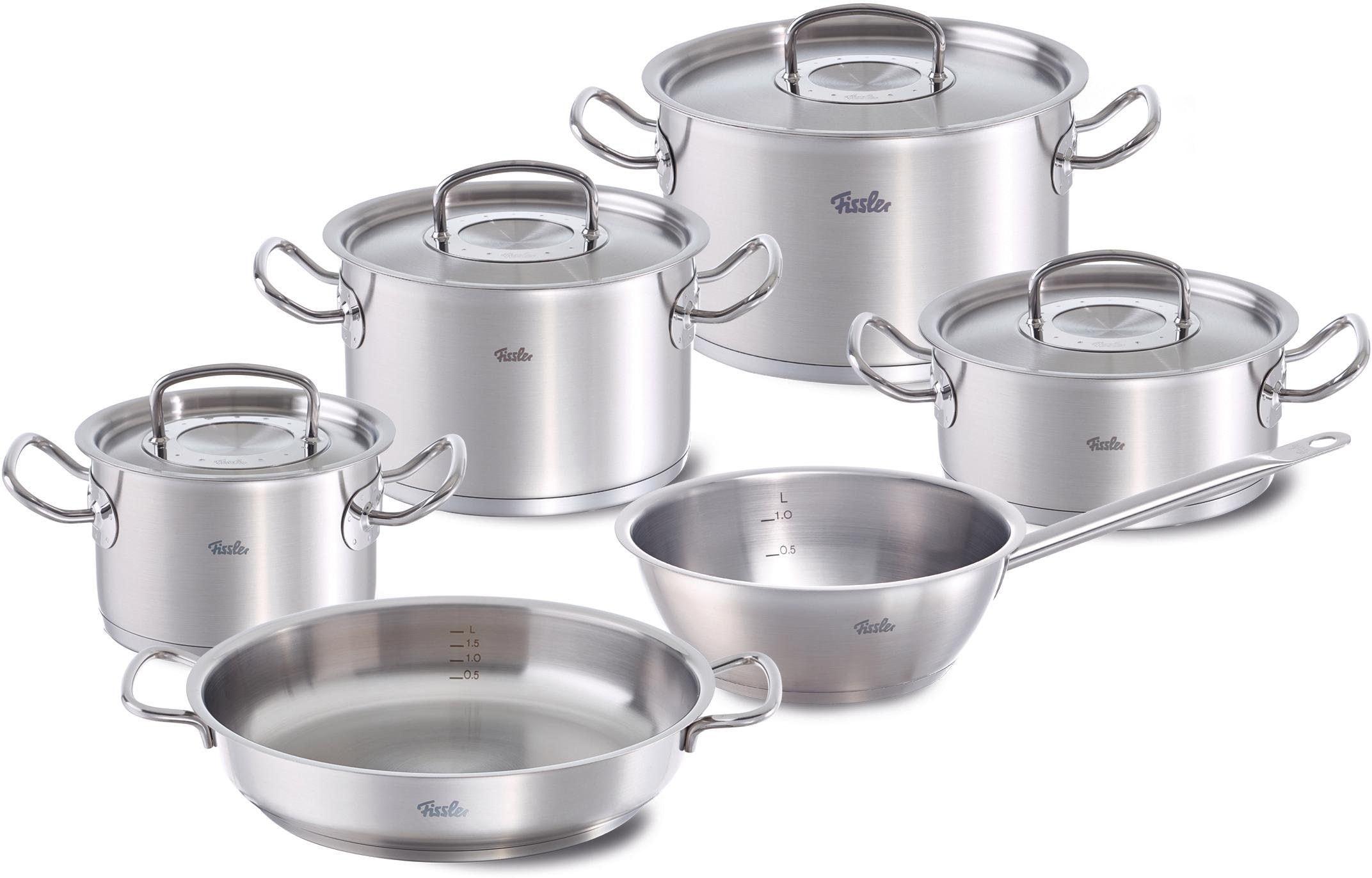 Bratentopf Kochtopf 5-tlg Edelstahl Fissler Family Line Set Stielkasserolle