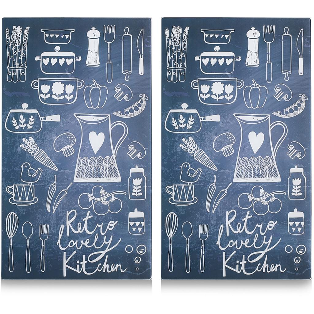 Zeller Present Schneide- und Abdeckplatte »Lovely Kitchen«, (Set, 2 tlg.), 6 rutschfesten Elastikfüßen pro Platte