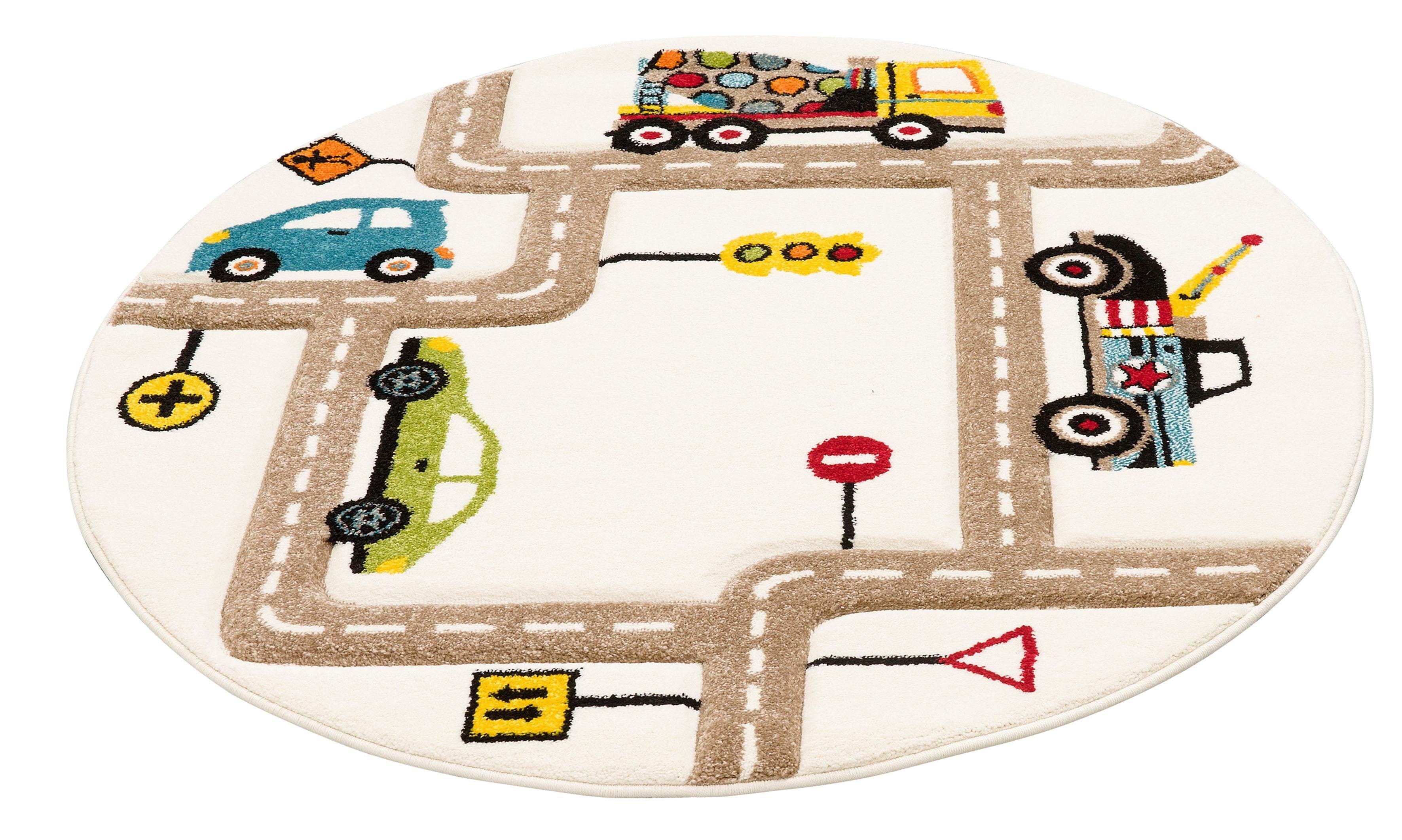 Lüttenhütt Kinderteppich Strassen, rund, 13 mm Höhe, handgearbeiteter Konturenschnitt, Straßen-Spielteppich, Kinderzimmer beige Kinder Bunte Kinderteppiche Teppiche