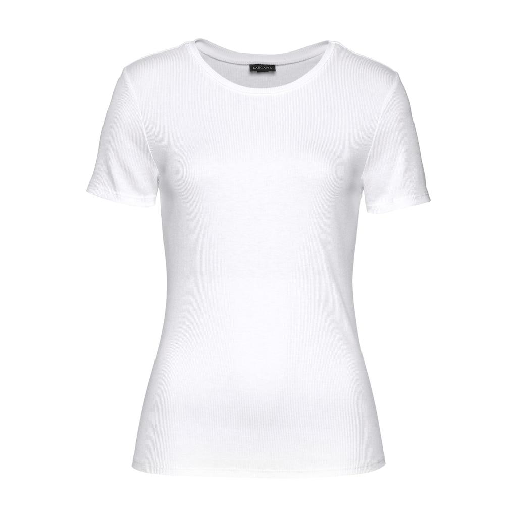 LASCANA T-Shirt, aus weicher Rippware