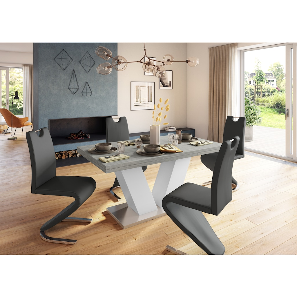 Homexperts Esszimmerstuhl »Zora 02«, Bezug in Kunstleder, Rückenlehne mit Griff zum einfachen Zurückziehen