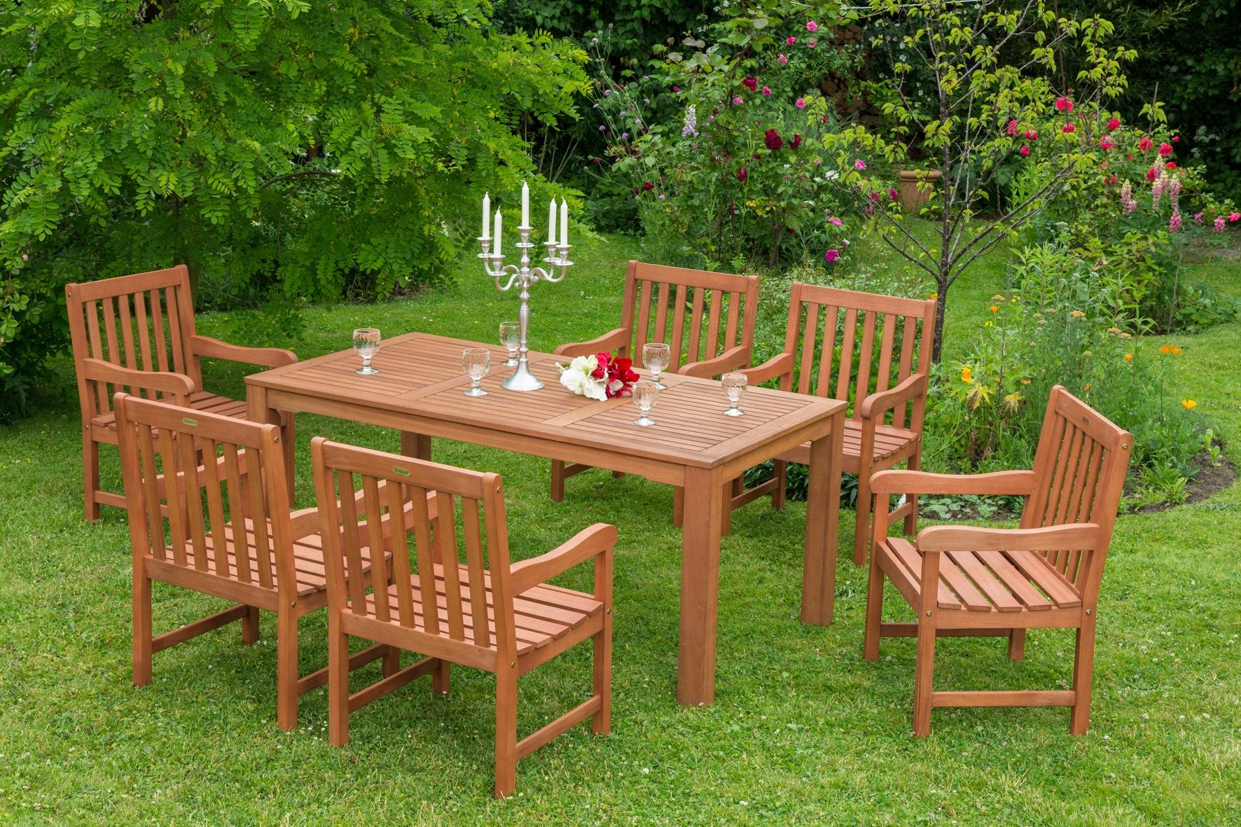 MERXX Gartenmöbelset Santos 7tlg 6 Sessel Tisch Eukalyptuzsholz natur