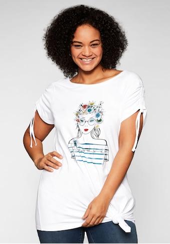 Sheego T-Shirt, mit Frontdruck und Glitzersteinen kaufen