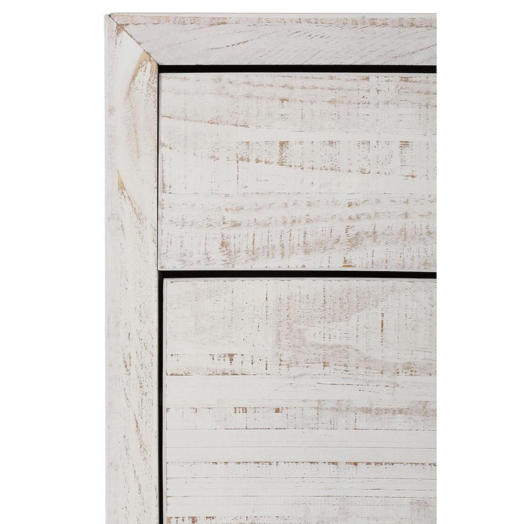 Home affaire Schuhkommode »Auckland«, in rustikaler Optik mit 2 Klappen und einer Schubladen, aus Massivholz