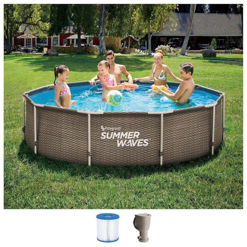 SummerWaves Rundpool »Active Frame«, (Set, 3 tlg.), ØxH: 305x76 cm